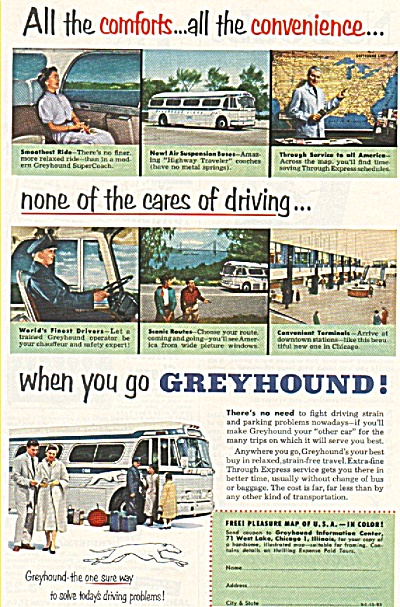 Greyhound bus line ad 1953 NONE OF THE CARES (Image1)