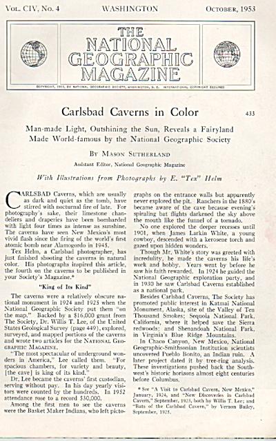 Carlsbad Caverns (New Mexico) story 1953 (Image1)