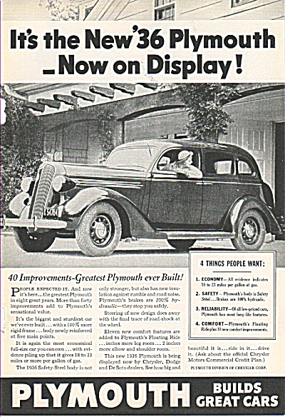 Plymouth automobile  for 1936 ad (Image1)