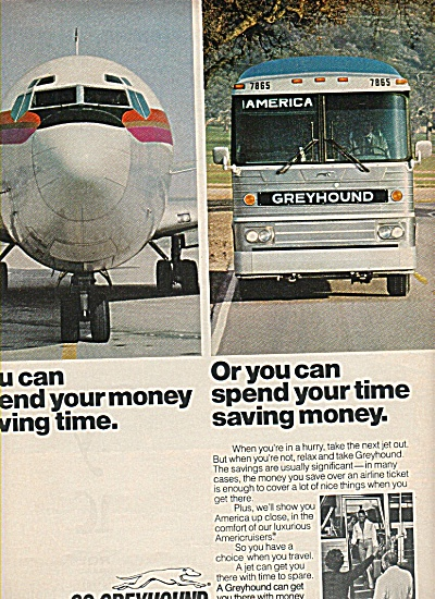 1978 Greyhound Bus Lines Ad Spend Time Saving Money