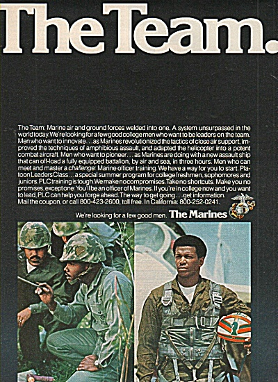 The Marines recruiting ad 1978 African American TEAM (Image1)