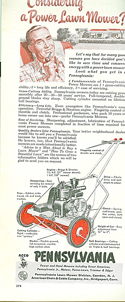 Pennsylvania Power Lawn Mower Ad 1951