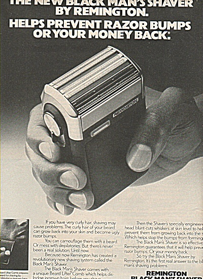 Remington Black Man's Shaver Ad 1978