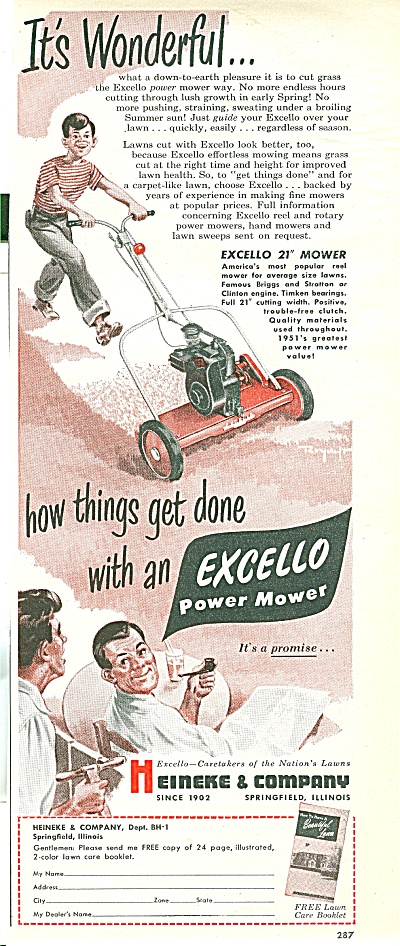 Excello Power Mower Ad 1951