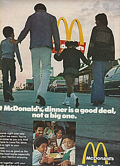 Mcdonald's Golden Arches Ad 1978 Black Family