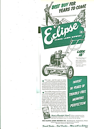 1951 Eclipse power lawn mowers AD Old Style (Image1)