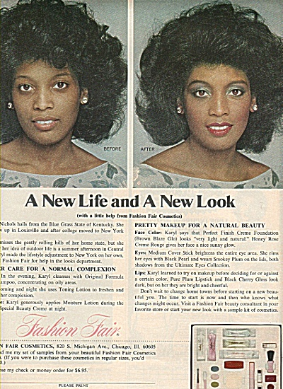 Fashion Fair cosmetics ad 1978 BEFORE - AFTER (Image1)