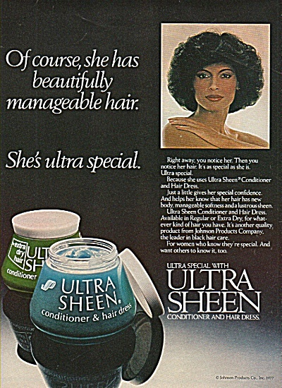 Ultra Shene Conditioner & Hair Dress Ad 1978