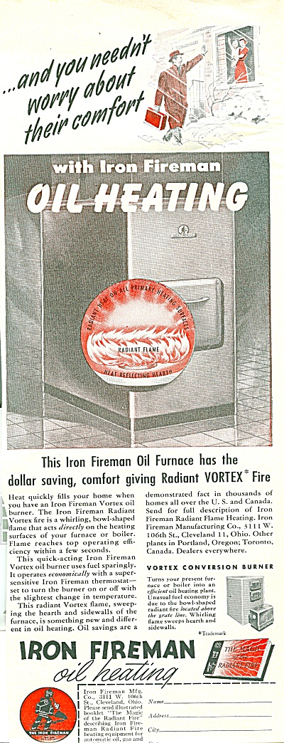 Iron Fireman Oil Heating Furnace Ad 1951