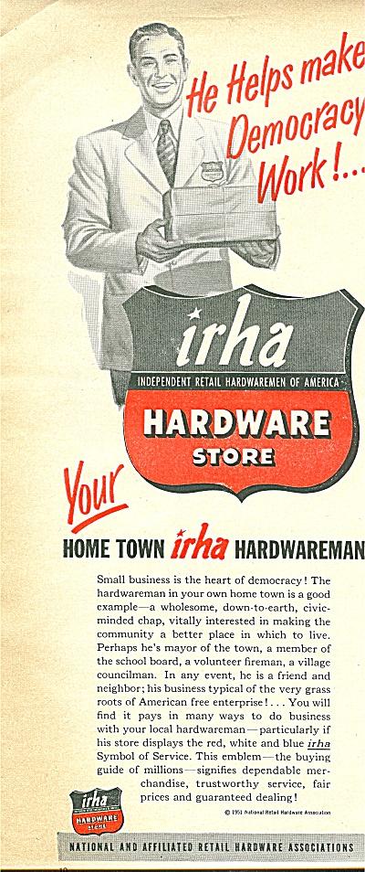 IRHA  Hardware store ad 1951 (Image1)