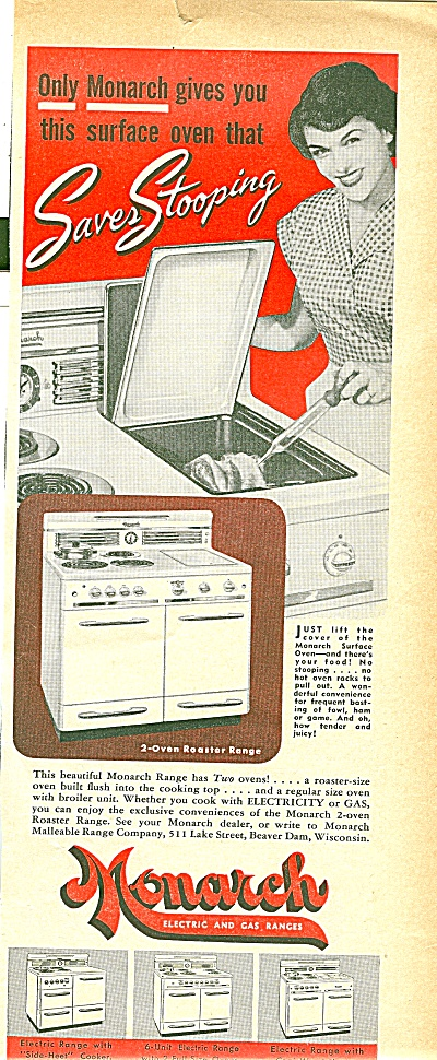 Monarch electric & gas ranges ad 1951 (Image1)