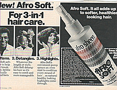 Afro Sheen And Comb Out Conditioner Ad 1978