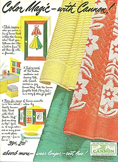 Cannon towels ad 1951 COLOR MAGIC TOWEL (Image1)