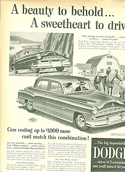 Dodge Automobile For 1951 Ad Beauty To Behold