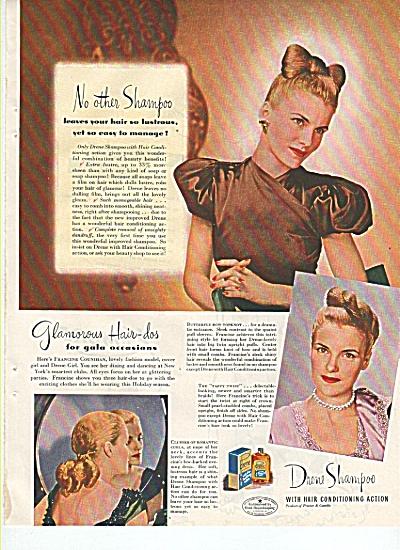 Drene shampoo ad 1945 MODEL FRANCINE COUNIHAN (Image1)