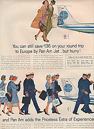 Pan Am airlines ad 1961  JET AIRPLANE....HURRY (Image1)