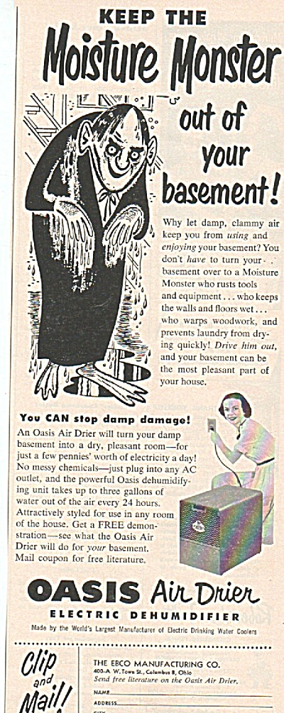 Oasis Air Drier Dehumidifier Ad 1952