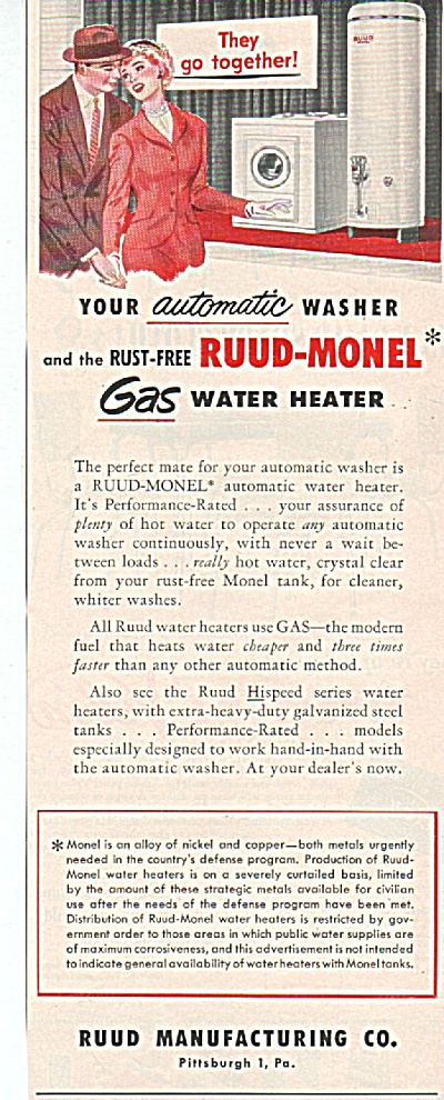 Ruud Manufacturing Co. Water Heater Ad 1952