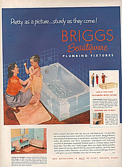 Briggs Beautyware ad 1952 LITTLE BOY IN BATH TOWEL (Image1)