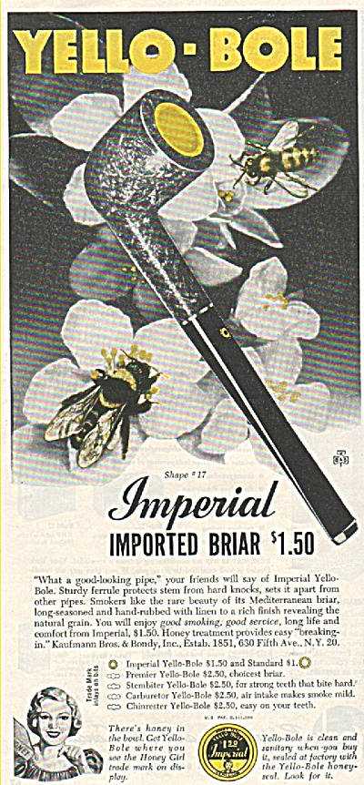 Imperial Imported Briar Pipe Ad 1949