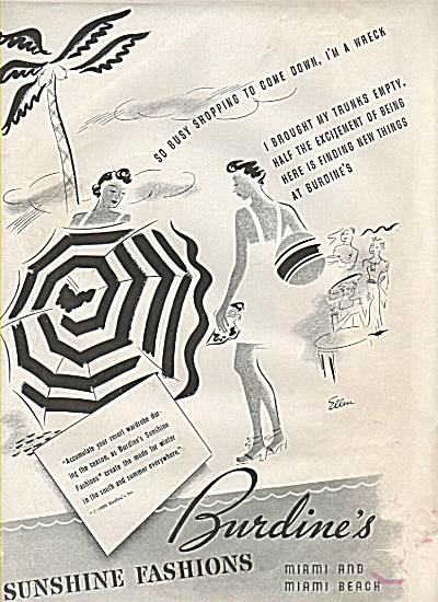Burdine's Sunshine Fashions Ad 1937