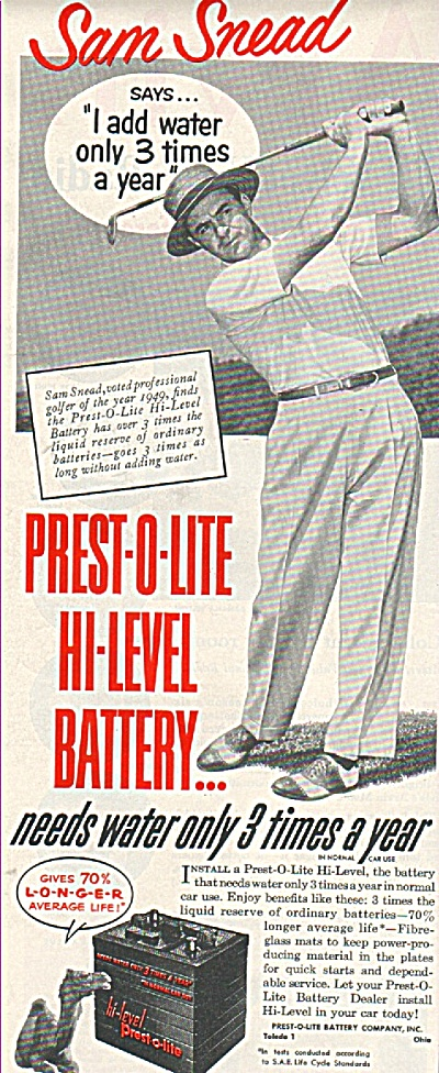 Prest O Lite Battery- Sam Snead Ad 1950