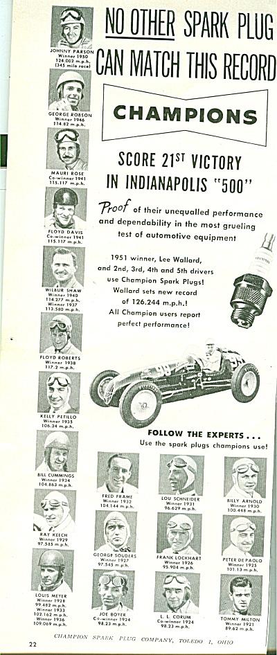 Champion spark plug ad 1951 (Image1)