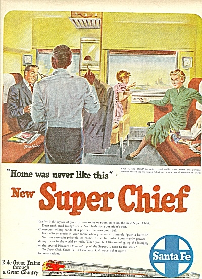 1951 Santa Fe Train Super Chief AD  (Image1)