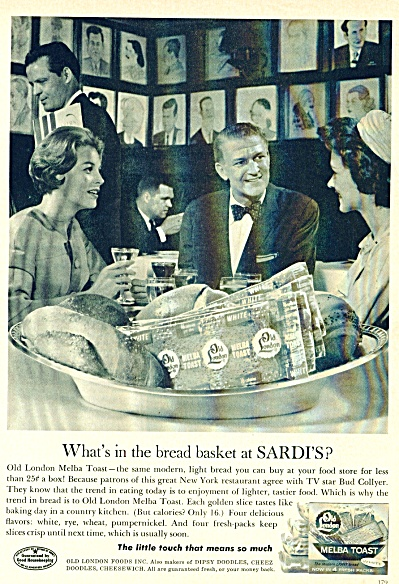 1961 Old London Melba Toast Ad Sardi's