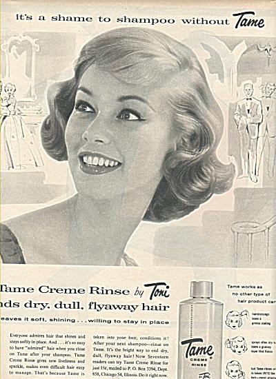 Tame Creme rinse by Toni ad 1958 (Image1)