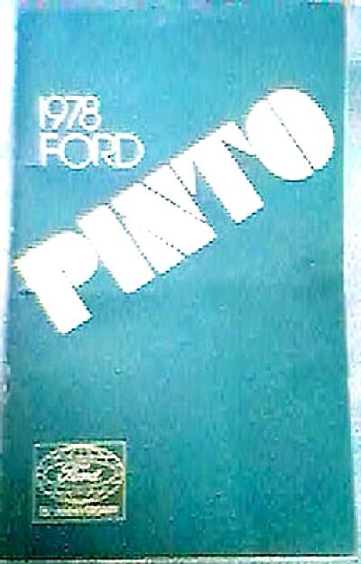 1978 ORIGINAL Ford PINTO  Owner's Manual CAR (Image1)
