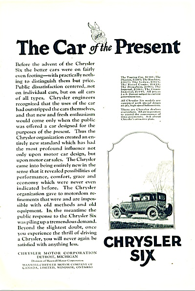Chrysler Six Motor Car Ad - 1925