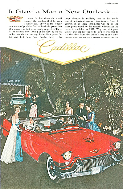 1957 Cadillac Automobile Ad Red Caddy Convertible Car