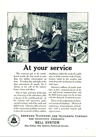 Bell System Ad 1925