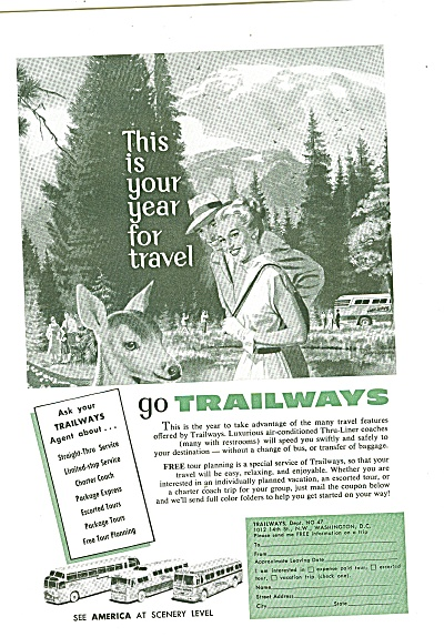 Trailways Bus Lines Ad 1957