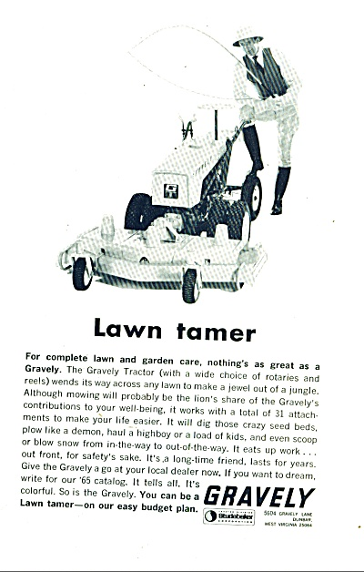 Gravely lawn tractors ad 1965 (Image1)