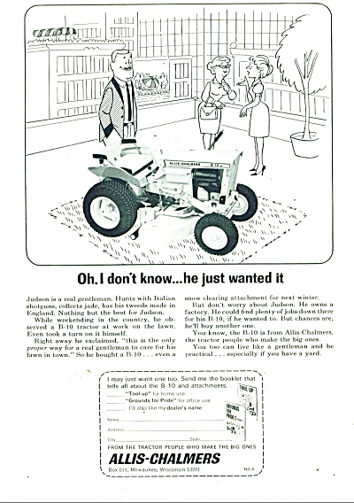 Allis-chalmers Lawn Tractor Ad 1965