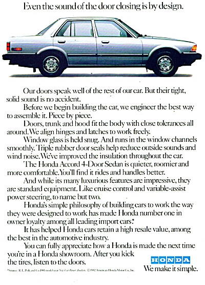 Honda Automobile Ad 1982