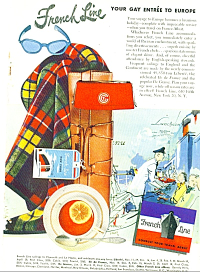 French Line Travel Ad 1950