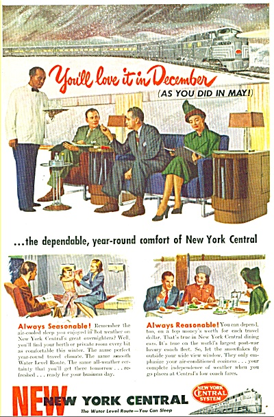 New York Central Railway Ad 1947