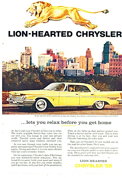 Chrysler New Yorker Auto Ad 1959