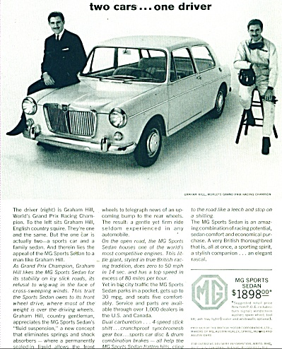 MG sports sedan ad 1963 - Graham Hill (Image1)