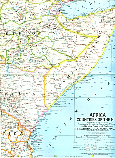 AFRICA, Countries of the Nile Map  1963 (Image1)