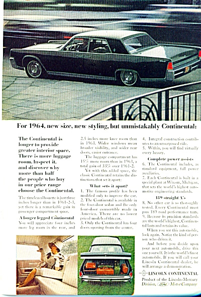 Lincolncontinental For 1964 Ad
