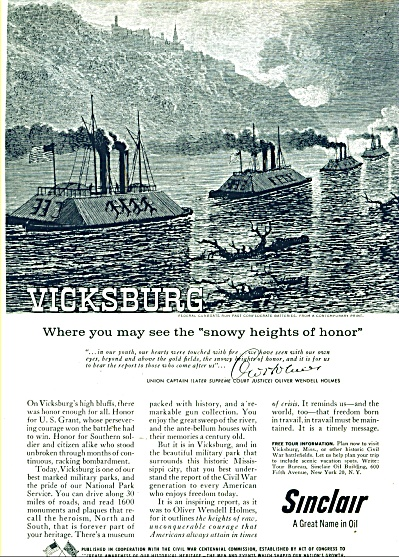 Sinclair motor oil ad 1960 VICKSBURG CIVIL WAR (Image1)