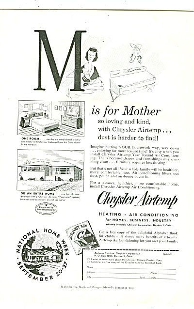 1953 M Is For Mother So Loving Chrysler Airtemp Ad 1953