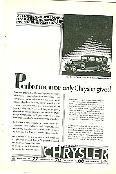 Chrysler 77 Royal Sedan Ad 1930
