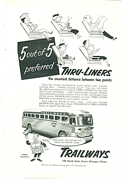 Trailways Bus Lines Ad 1947
