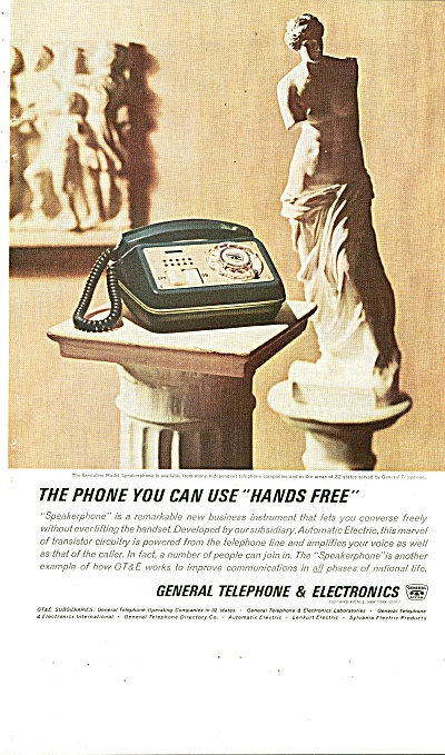 General Telephone & Electronics Ad 1963 Hands Free