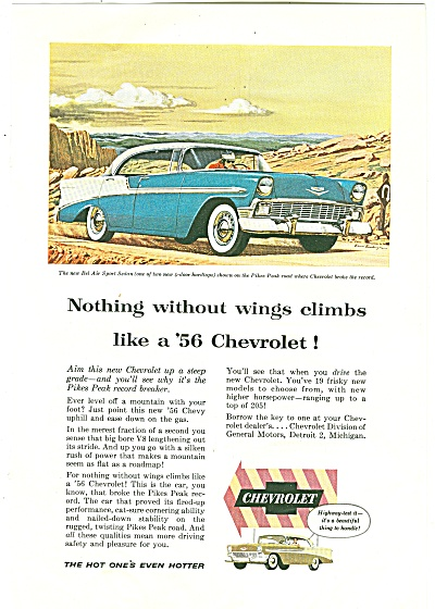 1955 Ad Chevrolet Car Auto For The 56 Chevy
